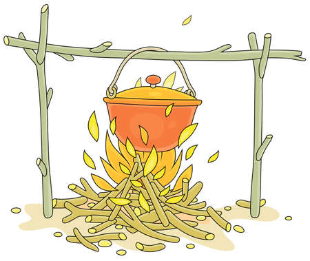 Cooking dinner in a small tourist pot boiling over burning campfire in a forest camp on summer vacation, vector cartoon illustration isolated on a white background