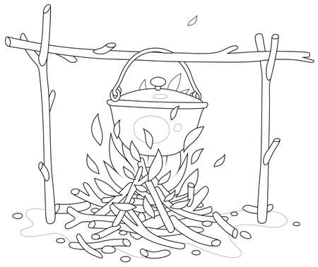 Cooking dinner in a small tourist pot boiling over burning campfire in a forest camp on summer vacation, black and white outline vector cartoon for a coloring book page Vectores