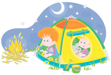 Cheerful little kids tourists with a merry pup resting in their colorful camp tent on a starry night on summer vacation, vector cartoon illustration isolated on a white background