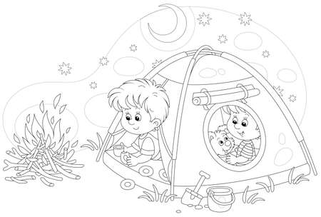Cheerful little kids tourists with a merry pup resting in their camp tent on a starry night on summer vacation, black and white outline vector cartoon illustration for a coloring book page