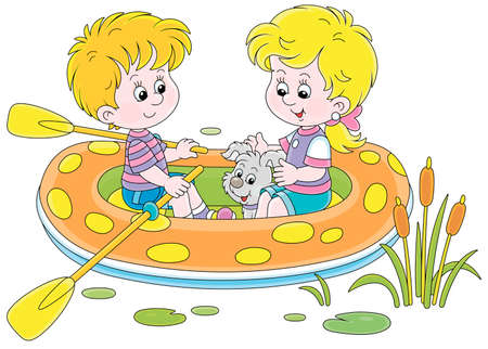 Happy little girl and boy with their merry pup riding an inflatable boat on a small lake on summer vacation, vector cartoon illustration isolated on a white background