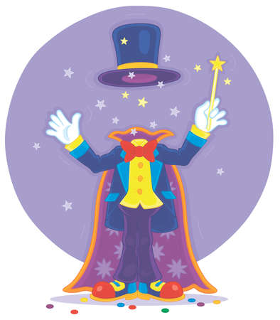 Artful circus magician illusionist with his magic wand, cloak and hat, conjuring trick of mysterious disappearance in an amusing entertaining show on a stage, vector cartoon illustration