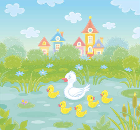 Cute white duck and a merry brood of yellow little ducklings on a pretty pond near a small colorful village on a warm summer day, vector cartoon illustration Vetores