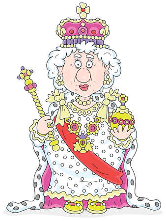 Queen in solemn royal dress with symbols of royalty at an official festive ceremony, vector cartoon illustration isolated on a white background