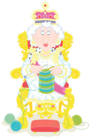 Queen in solemn royal dress sitting on her royal throne and knitting a warm striped scarf at leisure, vector cartoon illustration isolated on a white background