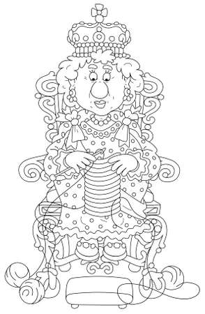 Queen in solemn royal dress sitting on her royal throne and knitting a warm striped scarf at leisure, black and white outline vector cartoon illustration for a coloring book page