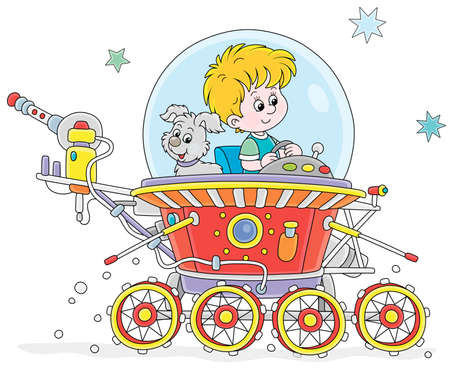 Little boy with his small pup piloting a toy lunar rover in an expedition somewhere beyond the planet Earth, vector cartoon illustration on a white background