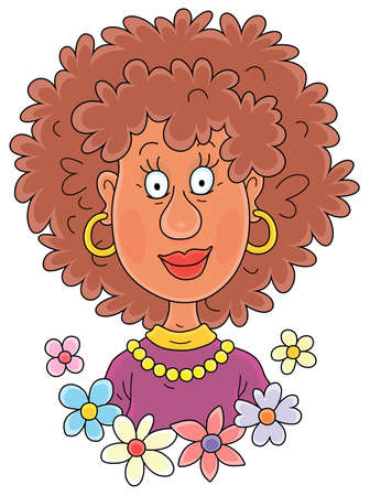 Smiling curly woman with an exotic afro hairdo, vector cartoon illustration isolated on a white background