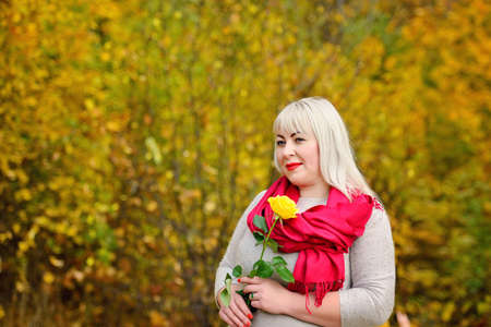 An adult blonde woman of large size stands in a red scarf, with a yellow rose in her hands in an autumn Park, against the background of yellow trees, and looks into the distance. Fashion portrait