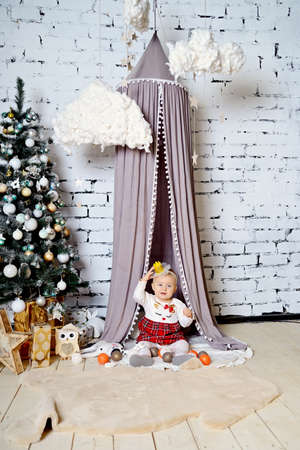 Little Princess on a fluffy rug near the Christmas tree and tent. Stok Fotoğraf