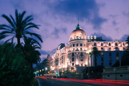 in nice: The famous El Negresco Hotel in Nice, France Editorial