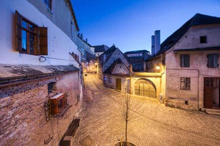 Sibiu,Romania  Old street of residential buildings
