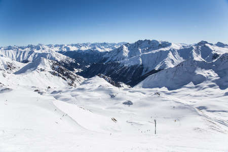 extreme angle: Austrian Alps in Ischgl Stock Photo