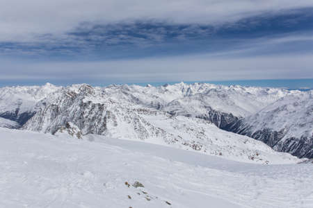 Alps Panorama in Solden, Austria on a sunny day