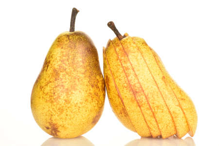 Ripe juicy, organic pears, close-up, on a white background. Stok Fotoğraf