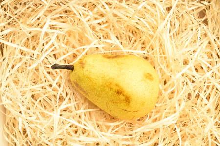 Ripe juicy, organic pears, close-up, on wooden shavings. Stok Fotoğraf