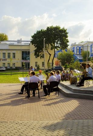 melodies: IVANOVO, RUSSIA - AUGUST 10  Brass band playing old melodies for Russian pensioners under the open sky  August 10, 2013, Ivanovo, Russian Federation
