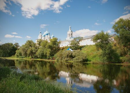 bogolyubovo: Landscape with the monastery and the lake in the village of Bogolyubovo about the city of Vladimir in Russia