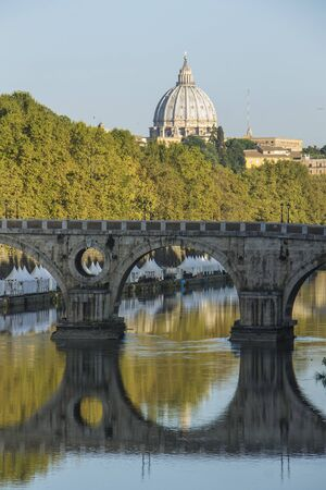 View of the Tiber, Sisto bridge, and St Peter cathedral