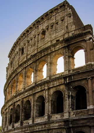 best travel destinations: Detail of the huge Colosseum, in Rome Stock Photo