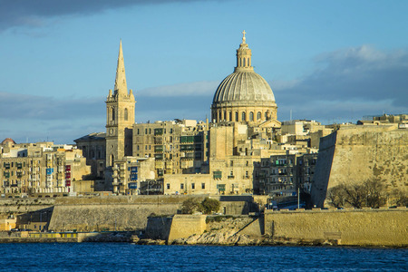 glen: A view of Valletta with the Saint Jhon cathedral Stock Photo