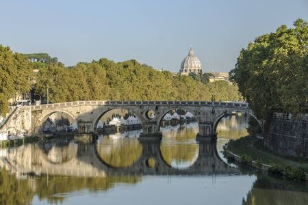 A view of Ponte Sisto with Saint Peter cathedral on the bottom