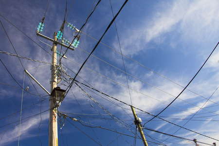 telegraphs: row of wire pole with blue sky