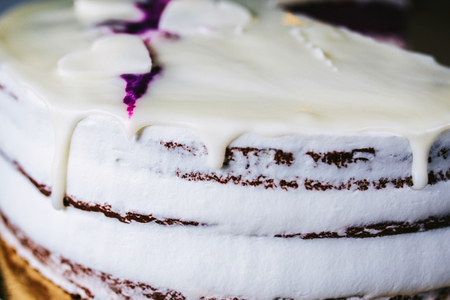Cake with hearts and cream Imagens