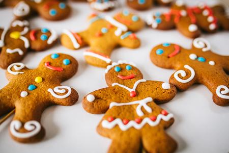 Gingerbread men on white background