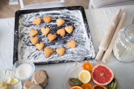 Freshly baked cookies in the form of a heart