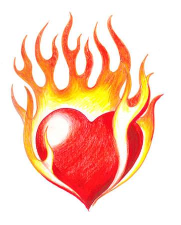 Burning heart Stock fotó - 77839047