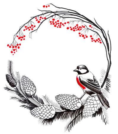 Rode Robin op een tak Stockfoto