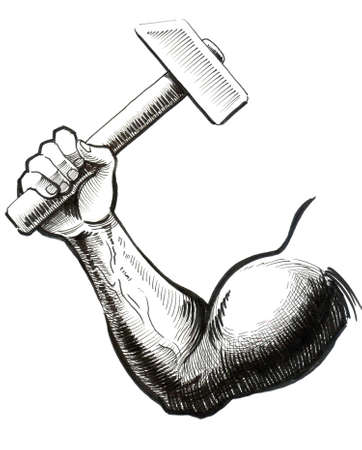 Hand with a hammer