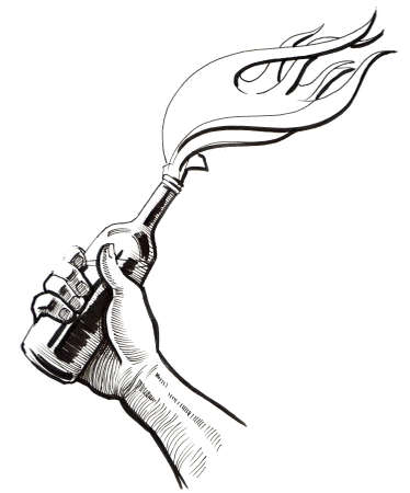 Hand with a molotov cocktail