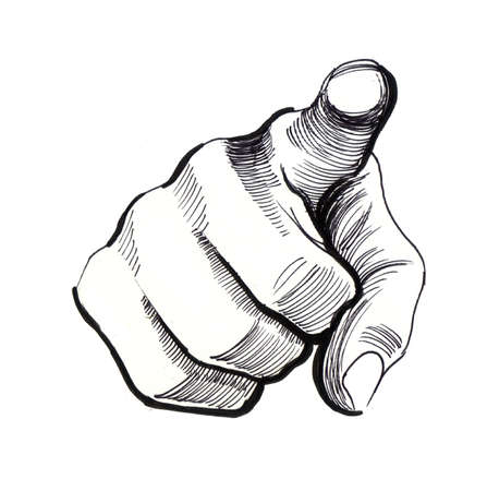 Hand pointing at viewer. Ink hand drawn illustration on a white background