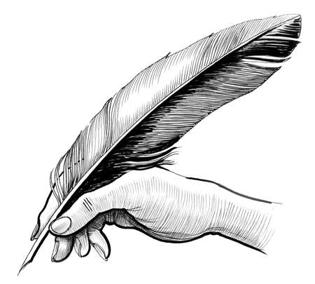 Hand writing with a quill. Ink illustration on a white background. 版權商用圖片
