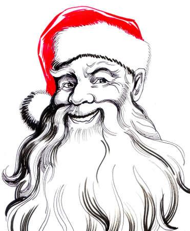 웃는 산타 클로스. 흰색 배경에 손으로 그려진 된 잉크 그림