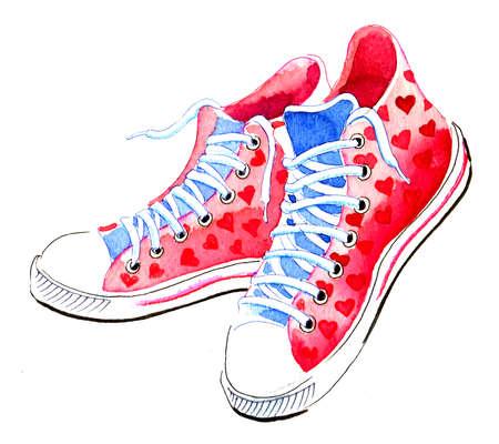Um par de tênis cor-de-rosa. Esboço desenhado a mão de aquarela Foto de archivo - 90415159