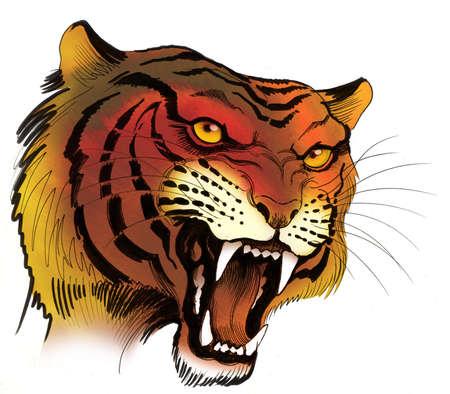 Tigre en colère. Illustration d'encre Banque d'images - 90415168