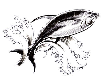 Jumping tuna. Ink illustration
