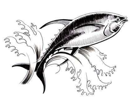 Springender Thunfisch. Tintenillustration Standard-Bild - 90415114