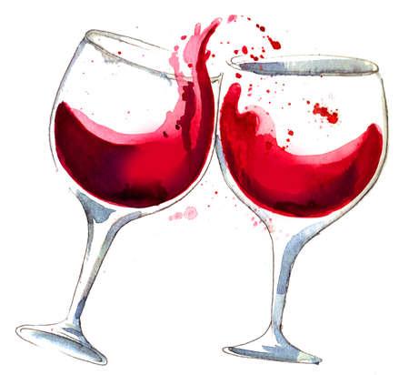 Two glasses of red wine. Ink illustration Standard-Bild