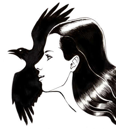 소녀와 까마귀. 잉크 일러스트