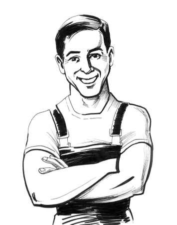 Trabajador sonriente. Ilustración de tinta Foto de archivo - 90415120