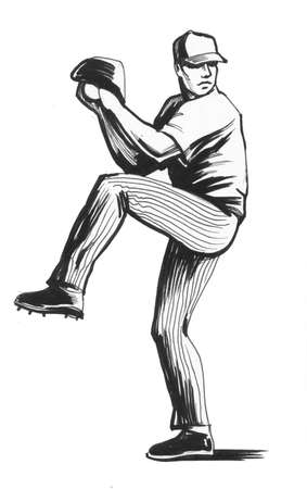 Baseball player. Ink illustration 版權商用圖片