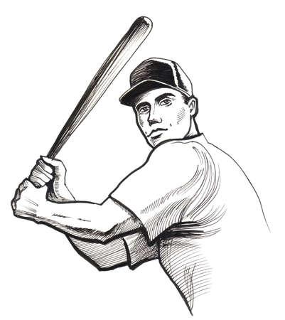 Baseball player. Ink illustration Stock Photo