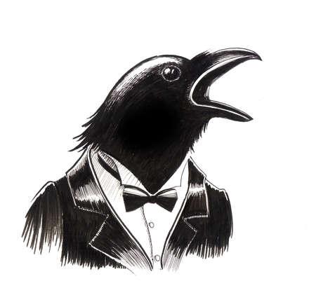 노래 새입니다. 잉크 일러스트