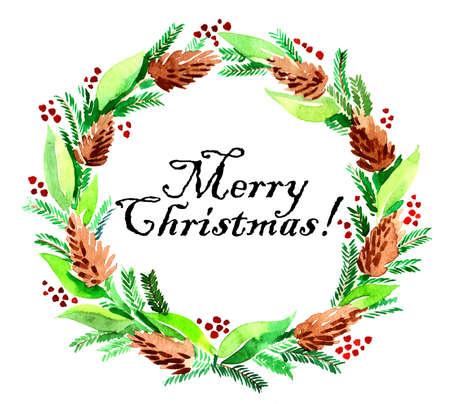 Vrolijk kerstfeest. Inkt illustratie Stockfoto