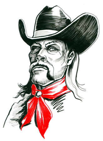 Cowboy character. Ink illustration