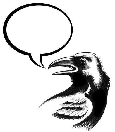 Crow speaks. Ink illustration